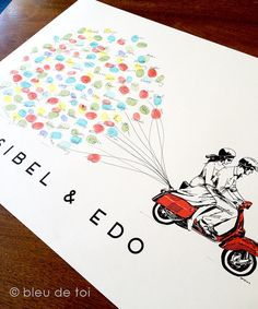 Red Scooter with Balloons, The original wedding guest book thumbprint balloon art (ink pads available separately)