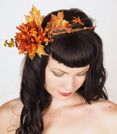 Shimmering Gold & Deep Russet Orange Autumn Wedding Wreath - Headpiece - Harvest Crown - Flowers and Leaves - Head Wreath - Fall Colors