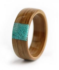 Oak Engagement Ring with Turquoise Inlay