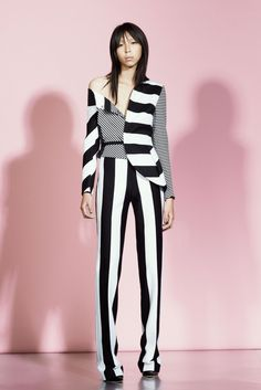 stripes on stripes with pastel pink wall  Antonio Berardi Resort 2016 - Collection - Gallery - Style.com