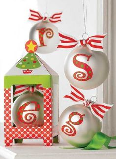 Cut the letters with a cricut... run through a sticker maker... Should be easy enough to make...Amazon.com: Initial Personalized Christmas Ornament by Mud Pie - Letter E: Everything Else