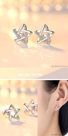 So cute earrings ! Cute Zircon Star Hollow Women Shining Star Silver Earring Studs So cute earrings ! Crystal Earrings, Beaded Earrings, Earrings Handmade, Silver Earrings, Earring Studs, Silver Bracelets, Silver Ring, 925 Silver, Sterling Silver