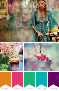 Beautiful colors: pumpkin, magenta, emerald, robin's egg, regalia. Inspiration for our new house!