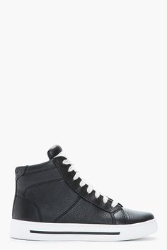 Marc By Marc Jacobs Black Glazed Calf Leather High-top Sneakers