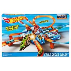 The Hot Wheels Criss Cross Crash track set has four intersecting crash zones and a car feeder ramp for amped up action. Kids can line up their Hot Wheels cars and let 'em rip for near misses or total wipeouts. With more than 16 feet of track that includes hairpin turns, motorized boosters and a giant crash zone, kids can enjoy crash-and-bash fun for hours on end. Includes parking spaces throughout the set for additional storage and safe guards for kids over the crash zones. Comes with one…