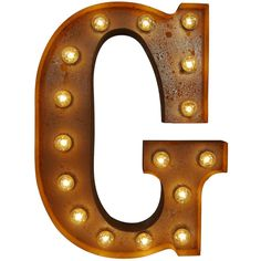 Urban Industrialists Large Vintage Letter Lights - G ($255) ❤ liked on Polyvore featuring home, lighting, wall lights, standing light, red lights, standing lights, stainless steel lamp and orange lighting