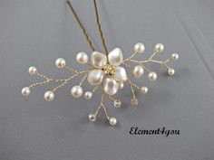 Pearl Rhinestone Floral Vine Bridal Hair Pin Ivory by Element4you