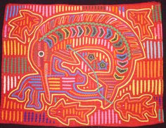 Vintage Sea Creatures Mola- x Reverse Applique, Paint Designs, Fabric Art, Sea Creatures, Body Painting, Textile Art, Panama, Islands, Culture