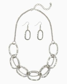 charming charlie | Oval Links Metal Necklace Set | UPC: 410005245687 #charmingcharlie