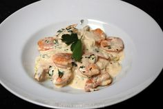 Pasta met roomsaus en scampi's - Keuken♥Liefde