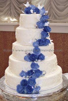 Wedding cake with blue flowers