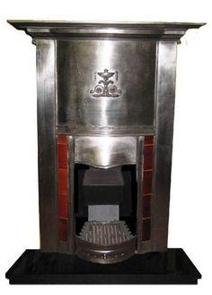 Antique 1920 1930s Cast Iron Combination Fireplace