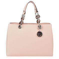 MICHAEL Michael Kors Cynthia Satchel Bag (905 BRL) ❤ liked on Polyvore featuring bags, handbags, purses, bolsa, accessories, satchel handbags, leather satchel handbags, pink purse, pink satchel handbags and pink leather purse