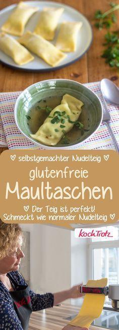 Die besten glutenfreien Maultaschen! Mit selbstgemachtem #Nudelteig. #glutenfrei #laktosefrei #maultaschen #rezept