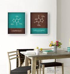 Caffeine molecule & chocolate molecule Set of 2 prints