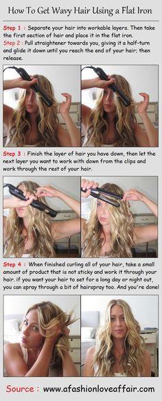 How To Get Wavy Hair Using a Flat Iron | PinTutorials