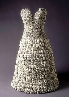 Faces and roses ceramic sculpted dress, New York City, 2006