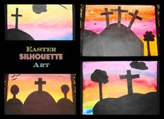 Easter Silhouette Art- just breathtaking!  (Do chalk pastels for background and cut out shapes in black paper to glue on top)