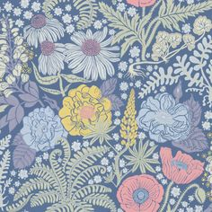 Lisa Grue´s world of flowers inspired by Nordic flora and fauna. A bonanza of colours on a dark blue background.