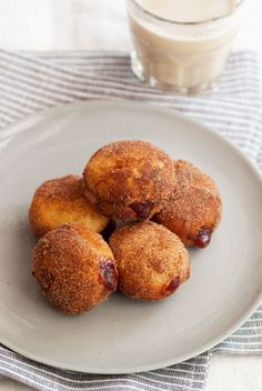 German-style doughnuts filled with plum jam and topped with cinnamon and sugar. How exotic.