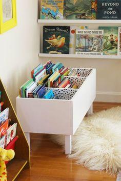 diy book bin in girl room decor, diy book bin in kid room decor, kid playroom design, kid room design ideas, kid storage ideas