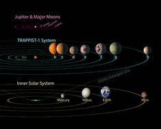All seven planets discovered in orbit around the red dwarf star TRAPPIST-1 could easily fit inside the orbit of Mercury, the innermost planet of our solar system. In fact, they would have room to spare. TRAPPIST-1 also is only a fraction of the size of our sun; it isnt much larger than Jupiter. So the TRAPPIST-1 systems proportions look more like Jupiter and its moons than those of our solar system.
