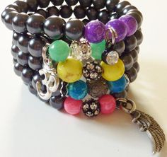 NEWJet Black Pearlized Beaded Bracelet with Neon by rockstarsz, $19.99