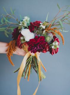 Herbst Brautstrauß | fall bouquet with dahlias and cotton