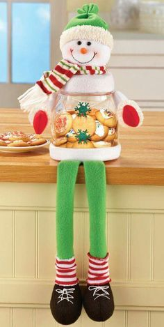 Christmas Treat Jar-Sitting Snowman Shelf Sitter Charming Sitting Snowman holds your favorite treats while also being an adorably festive decoration on a cou Dollar Store Christmas, Christmas Jars, Christmas Sewing, Christmas Humor, Christmas Kitchen, Christmas Countdown, Christmas Projects, Holiday Crafts, Funny Christmas Decorations