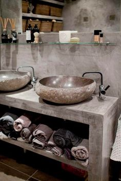 Small bathroom design ideas on a budget Small bathroom . - Small bathroom design ideas on a budget Small bathroom design ideas on a budg - Stone Bathroom, Attic Bathroom, Bathroom Faucets, Budget Bathroom, Bathroom Ideas, Sinks, Seashell Bathroom, Condo Bathroom, Concrete Bathroom