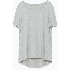 Zara T-Shirt With Asymmetric Hem ($9.90) ❤ liked on Polyvore featuring tops, t-shirts, shirts, t shirts, grey marl, grey top, zara shirts, gray tee, zara top and tee-shirt