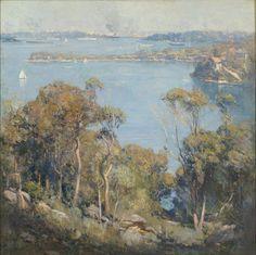 Sydney Harbour, 1907 by Arthur Streeton. Australian Painting, Australian Artists, Melbourne, Sydney, Australia Landscape, Virtual Art, Landscape Paintings, Oil Paintings, Landscapes