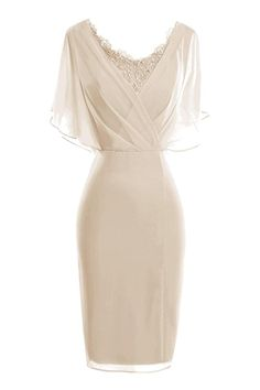 ORIENT BRIDE Modern Scoop Short Sleeve Sheath Mother of the Bride Dresses Size 10 US Champagne