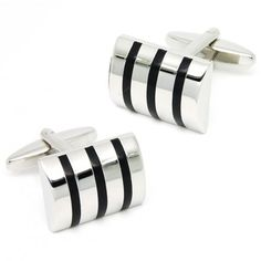 Classic engraved rectangle silver cufflinks