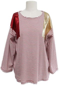 Metallic Inserts Striped T-shirt (2 Colors) | Fall & Winter | Dolly & Molly | www.dollymolly.com | #Tee #sleep #party #costume #design #art #yellow #red #stylist #designer #life