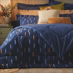 Add pure comfort to your space with our new Billie 3-piece bedding set! 💙 The relaxing denim blue shade is warmed with flecks of ochre, all printed on luxurious 200-thread-count cotton – this bedding collection is as cosy as it gets! 😍 Plus, the reversible side is plain, which is perfect when you're in the mood for a change. 😉 Cotton Bedding Sets, Bedding Collections, Your Space, Be Perfect, Cosy, 3 Piece, Comforters, Change, Pure Products