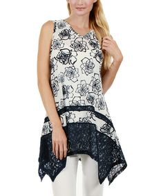 Look at this Aster Blue Blue & White Floral Sidetail Tunic on #zulily today!