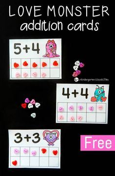 Have a blast working on one to one correspondence, counting, and ten frames with these free printable love monster addition to 10 cards! Numbers Kindergarten, Kindergarten Math Activities, Fun Math, Preschool Activities, Kindergarten Classroom, Math Games, Kindergarten Addition, Monster Activities, Kindergarten Freebies