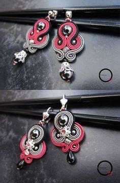 DUE varianti per gli orecchini romantici e un po' dark, con perle in ematite, soutaches rosa scuro, grigio e nero
