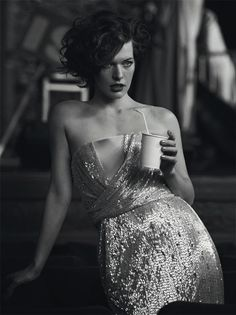 "The Terrier and Lobster: ""The Mundane is to be Cherished"": Milla Jovovich with Jenny Holzer Art by Peter Lindbergh for the Vogue Italia Couture Supplement Milla Jovovich, Peter Lindbergh, Vogue, Divas, Jenny Holzer, Black And White Portraits, Poses, Celebs, Celebrities"