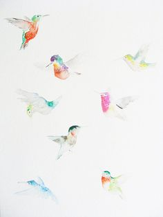 Watercolor: hummingbirds by artist Catherina Turk available at dearpumpernickel • thanks Jacque B for the update!