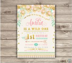 Wild One Birthday Invitations Pink and Gold Party girl First Zoo Animals Birthday Printable boho Zoo birthday Tribal Safari Arrow Zoo Birthday, Ballerina Birthday, Animal Birthday, First Birthday Parties, First Birthdays, Birthday Ideas, Third Birthday, Happy Birthday, Pink And Gold Invitations
