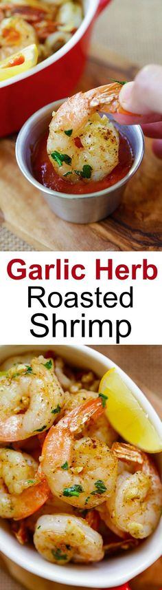 Garlic Herb Roasted Shrimp – easiest and best roasted shrimp with butter, garlic, herb and serve with cocktail sauce. Takes 15 mins | rasamalaysia.com: