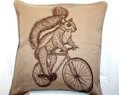 Woodland SQUIRREL on Bicycle Throw Pillow - 20x20 Brown and Tan - Down Insert Included