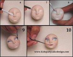 make a ball of dough in a light skin color, mark with your thumbs to form the nose, with the vener tool contouring the nose with the rubber brush open up the holes in the nose and the contours , mark a line inclined to make the mouth, mark the...