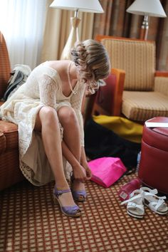 Amanda Maglione Photography - Virginia Photographers - Bride getting ready photo with purple shoes