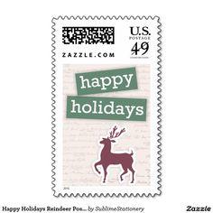 Happy Holidays Reindeer Postage
