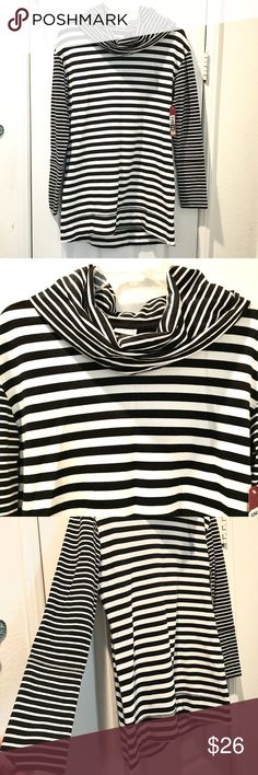 NWT Black & white Merona cowlneck top Super soft and thick black & white Merona cowlneck long sleeve  top. Perfect for winter! 58%cotton/37%modal/5%spandex Merona Tops Tees - Long Sleeve