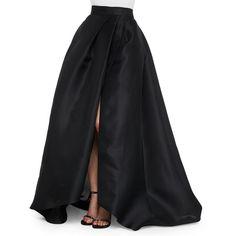 Monique Lhuillier Side-Slit Gazar Ball Skirt ($2,660) ❤ liked on Polyvore featuring skirts, noir, pleated skirt, slit maxi skirt, long slit skirt, floor length skirt and side slit maxi skirt