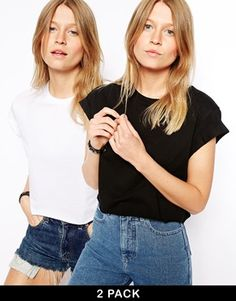 Enlarge ASOS Cropped Boyfriend T-Shirt with Roll Sleeve 2 Pack SAVE 20%
